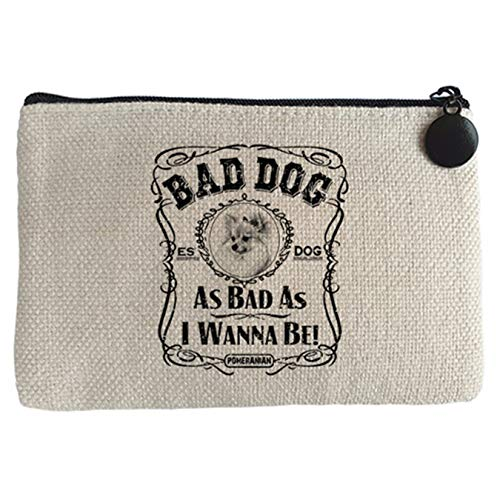 Diver Bebé Monedero frase perro raza Pomeriania Pomerano Bad dog as bad as I wanna be - Beige, 15 x 10 cm