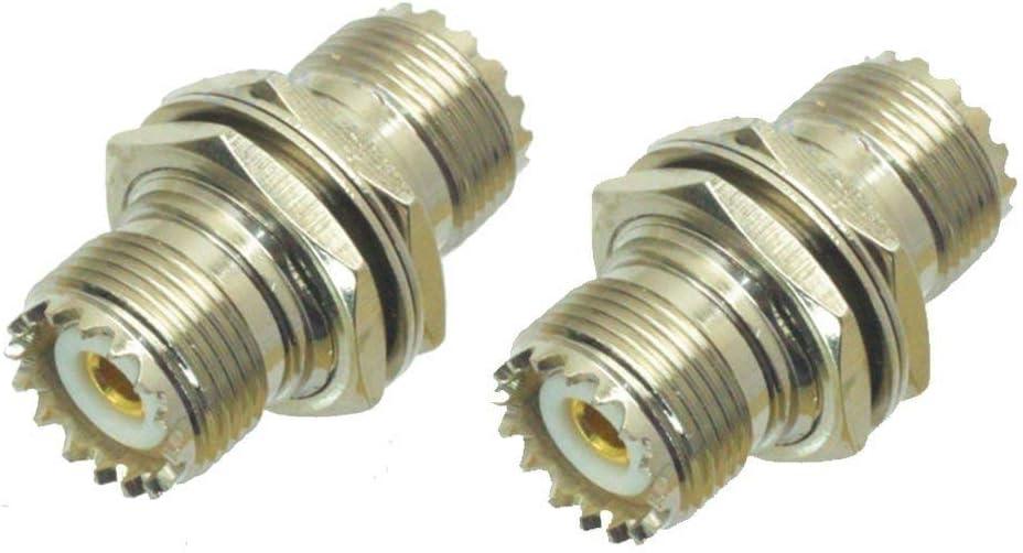bestkong 2 Limited time sale Pcs UHF Female Nut quality assurance Jack SO239 to with Bulkhead