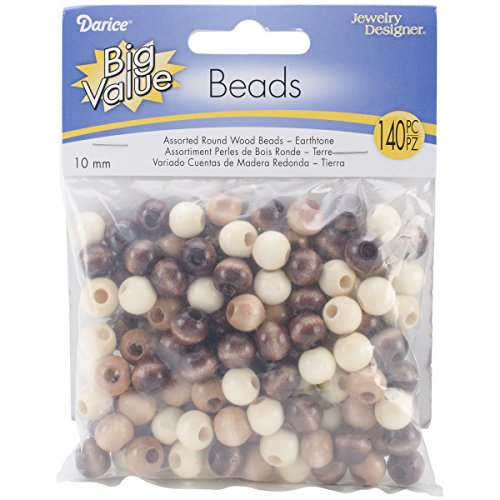Darice Round Earth Tones Wood Beads (140/ Pack), 10mm