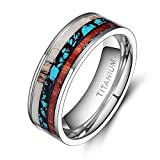 TIGRADE 6mm 8mm Deer Antlers Titanium Ring Turquoise Wood Inlaid Wedding Band,8mm, Size 8.5