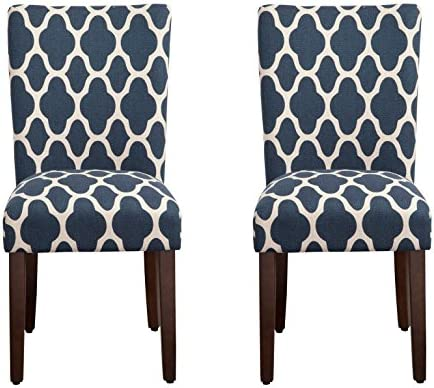 Best HomePop Parsons Classic Upholstered Accent Dining Chair, Set of 2, Navy and Cream Geometric -