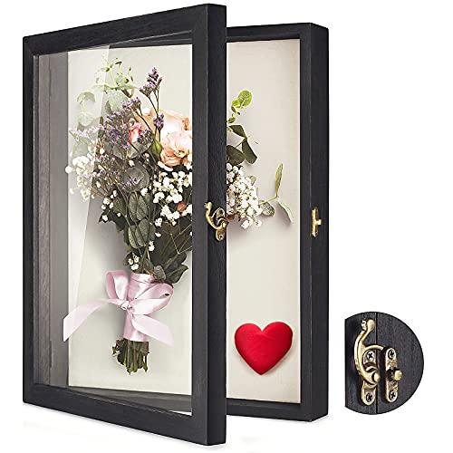 TJ.MOREE Caja de sombra de flores Vitrina 35 x 28cm Marco grande Shadowbox con ventana de vidrio Puerta Boda Bouquet Medallas Fotos Caja de memoria para recuerdos - Negro rústico