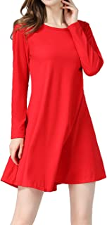 Women Long Sleeve Christmas Dresses Stripe Elk Casual Flowy Long Tunics