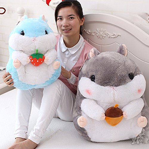KaiPoint Cute Fat Hamster Doll Plush Toys Birthday Present Plush Stuffed Animal Toys (Blue / Holding strawberries-40CM (15.8in)) S