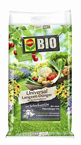 Compo BIO Universal Langzeit-Dünger mit Schafwolle für alle Gartenpflanzen, 5 Monate Langzeitwirkung, 10,05 kg