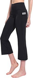 Women's High Waist Yoga Capri Pants Side Pockets Flare Workout Bootleg Crop Leggings, Size S - XXXL