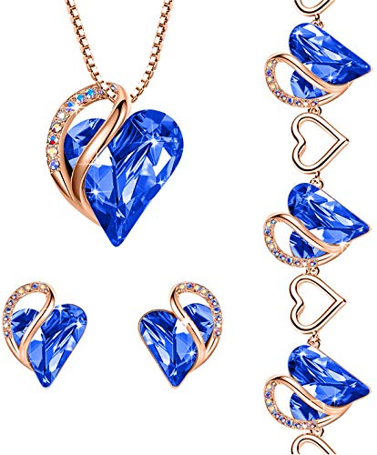 Leafael Infinity Love Crystal Heart Bundle Jewelry Set with Sapphire Blue Pendant Necklace Healign Stone Crystal for Protection Gifts for Women Necklace Earrings Bracelet, 18K Rose Gold Plated