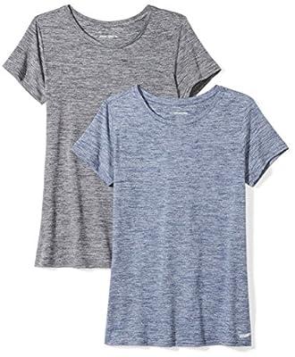 Amazon Essentials Women's 2-Pack Tech Stretch Short-Sleeve Crewneck T-Shirt, -black heather/navy heather, Small