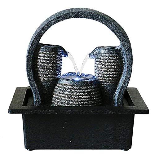 Ghongrm Fuente Meditacion e Iluminación LEDFuente Decorativa Sobremesa para Escritorio Oficina Hogar Dormitorio Relajación 17.5x23x23cm