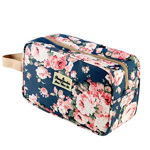Kulturbeutel für Frauen Tragbare Kosmetiktasche Große Toilettenartikel Organizer Aufbewahrungstasche Navy Rose Kulturbeutel Auslaufsicherer Reise-Make-up-Beutel für Mädchen Blumenkosmetiktasche
