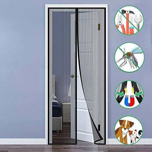 Aiyaoo Fliegengitter Magnet Innsektenschutz 80x200cm lässt frische Luft hinei Verstärkter Magnetkraft Petscreen Mehrere Größen für Dachfenster Bodentiefe Fenster - Schwarz