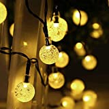 Salcar 10m Guirnalda de luces solares, 40 luces LED Bola Cristal para jardín, patio, exteriores, impermeable, para interiores y exteriores - Blanco Cálido