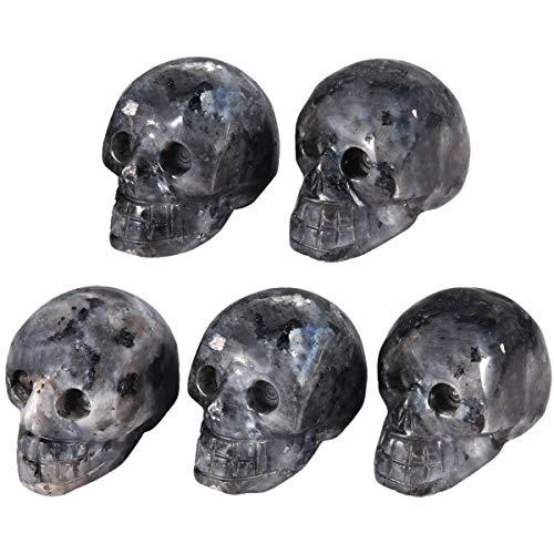 mookaitedecor 1 Inch Labradorite Crystal Skull Sculpture Set of 5, Hand Carved Gemstone Statue Figurine Collectible Healing Reiki