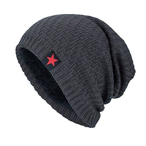 YWLINK Unisex MüTze Beanie StrickmüTze Absicherung Pfahlkappe Warm Draussen Mode Fleece Futter Hut Damen Herren(Einheitsgröße,Grau)