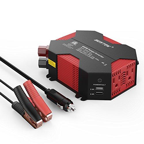 BESTEK 400W Car Power Inverter DC 12V to AC 110V Car Adapter with 5A 4 USB...