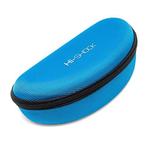 Hi-Shock Brillenetui Hi-Case | Stoßabsorbierendes Hartschalen-Case mit Schlaufe & Reißverschluss | Mit Mikrofasertuch [robust | wasserabweisend | Azurblau | 17,5cm x 7,5cm x 5,5cm]