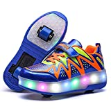 Roller unisex de los niños zapatos del patín zapatos desmontables LED de carga Conviértase Sport Trainer USB para Niños Niñas Ruedas zapatos ligeros zapatillas de deporte,Double wheel blue,33