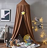 Mengersi Bed Canopy Play Tent for Kids, Round Dome Kids Mosquito Net Indoor Outdoor Castle Hanging House Decoration Reading Nook (Coffee)