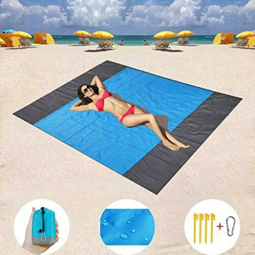 Manta de playa de 200 x 200 cm con bolsa de almacenamiento y 4 estacas de metal, libre de arena, manta de picnic al aire libre, almohadilla de colchón sin arena para playa, festivales de música, picnics, camping