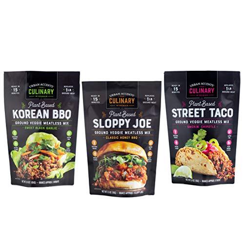Urban Accents Plant Based Meatless Mixes – Gluten Free Plant Based Protein & Seasoning Blends – Vegetarian Korean BBQ Mix, Sloppy Joe Mix & Taco Mix