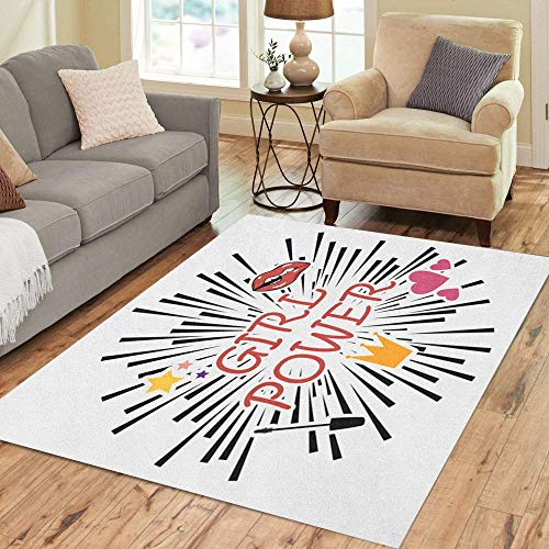 63X48 inch Teppich Girl Power Feminismus Slogan Star Lips Herz Mascara Home Decor Boden Teppich...