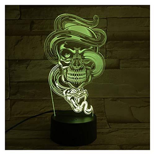 3D Magic LED Linterna de luz de la noche, la luz de la Infancia, la luz del sueño 7-Color Touch Button 16 colores, escritorio del USB cable de la lámpara decorativa, Esqueleto (Color : B)