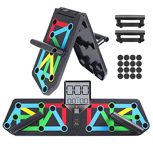 YiYaa Push Up Board, 13 in 1 Liegestütze Brett Mit Timer-zählfunktion, Faltbare Fitness Angenehmem Handgriff, Gymgrizzly Home Muscle Builder