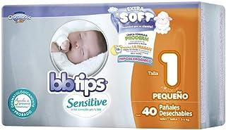 BBtips Sensitive Pañales, Talla Recién Nacido/1, 160 Pañales