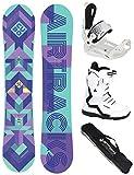 Airtracks Juego de snowboard para mujer Cubo Lady Rocker 145 + fijaciones Master + botas de snowboard Strong W QL 37 + bolsa SB