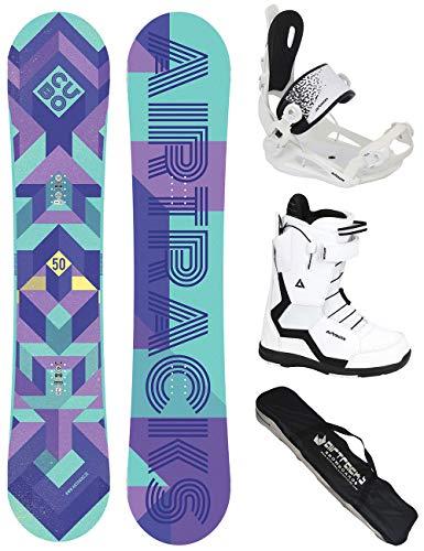 AIRTRACKS Mujer Snowboard Juego Completo/Cubo Lady Rocker + Fijaciones Snowboard Star W + Snowboard + Botas Bag/140, 145, 150cm