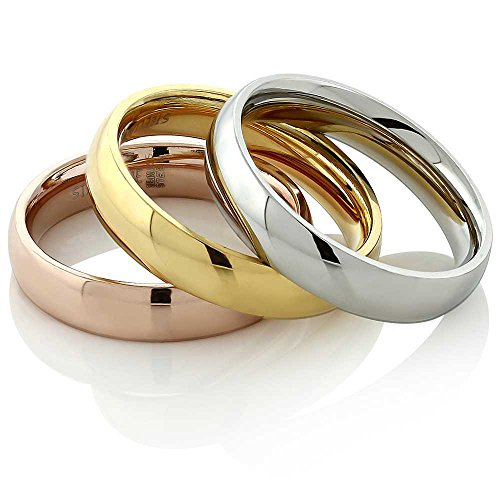 Gem Stone King Stainless Steel Rose Yellow Gold and Silver 3 Tri-Color Stacking Set of 3 Band Ring