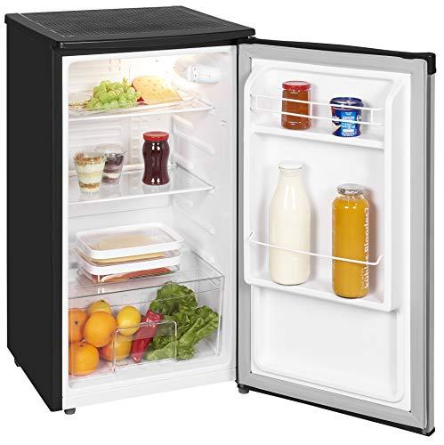 Exquisit Kühlschrank KS 85-9 RVA+InoxlookPV | Kühlen 82 Liter | Breite 45 cm | Türanschlag wechselbar | Inox-schwarz