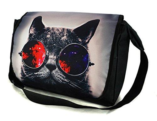 Ferocity Sac de messager a bandouliere jeunesse Matériel Messenger bag Galaxy Sunglasses Cat [052]