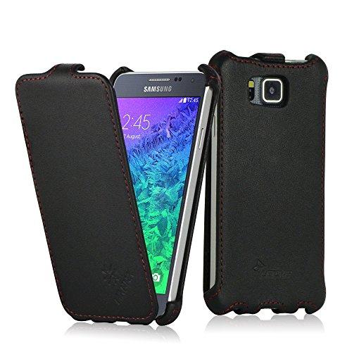 MANNA UltraSlim Samsung Galaxy Alpha 4.7 Zoll Hülle | Cover aus Echtleder, Nappaleder 'Astana' in schwarz | Praktisches Flip Hülle | Innenseite des Covers mit Microvlies gepolstert | Schutzhülle für Samsung Galaxy Alpha 4.7 Zoll SM-G850F