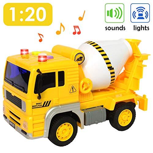 Buyger Jouet du Camion Bétonnière Voitures de Construction Chantier pour Enfants avec la Lumière et Musique Jouet Garcon 3 Ans