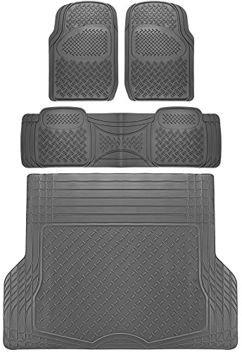 OxGord Diamond All-Weather Rubber Floor-Mats - Waterproof Protector for Spills, Dog, Pets, Car, SUV, Minivan, Truck - 4-Piece Set, Gray