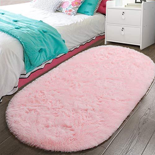 LOCHAS Luxury Velvet Fluffy Carpet Soft Children Rugs Room Mat Modern Shaggy Area Rug for Bedroom Bedside Home Decor 2.6' x 5.3', Pink