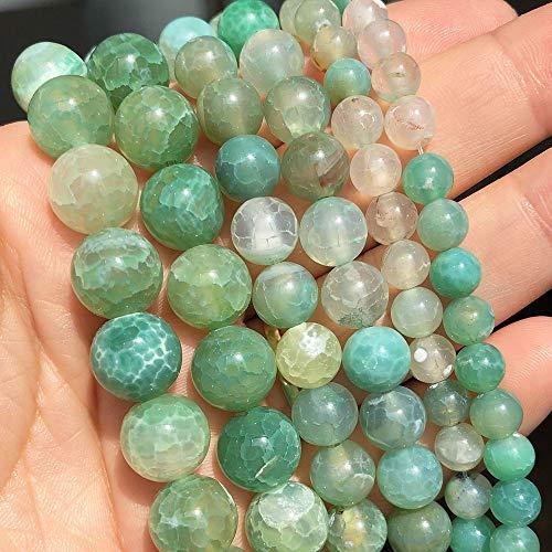 盛世汇众 Natural Stone Mint Green Fire Agates Onyx Redondo Redondo Perlas espaciadoras para joyería Fabricación de Bricolaje Accesorios 15 '' 6 8 10mm Color : 8mm (Approx 46pcs)