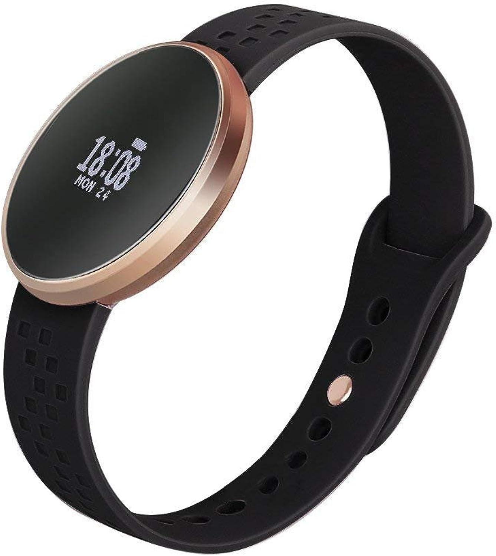 CCJW Frauen Smart Watch Fitness Tracker für IOS Android-Handy mit Fitness-Schlaf-überwachung Wasserdichte Fernbedienung Kamera GPS Auto Wake Screen schwarz
