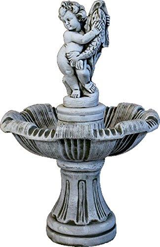 DEGARDEN Fuente de Piedra Central para Jardín o Exterior Hecha de Piedra Artificial | Fuente de Agua Medidas 62x110 cm | Fuente de Jardín Central, Color Ceniza