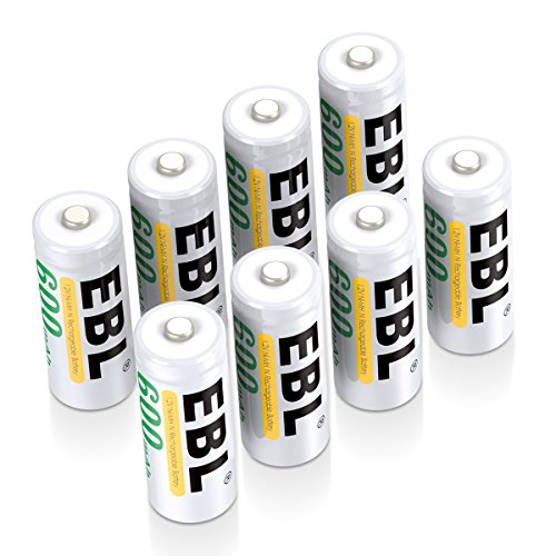 EBL E90 LR1 N Batteries, N Rechargeable Battery 600mAh Ni-MH for Clock, LED Lights, Toys, Pack of 8