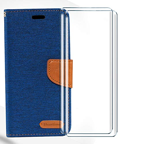 HYMY Handytasche für TCL Plex T780H Hülle + 2Pcs Panzerglas für TCL Plex T780H Schutzfolie - Schutzhülle Denim PU Leather Inner TPU Hülle/Card Cash Holder/Strong Magnetic/with Camera Hole-Blue