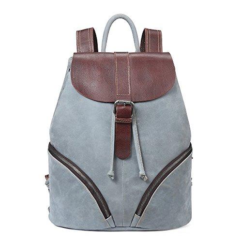Mochila de cuero de las señoras de la moda, bolso de las señoras de dos colores, mochila de cuero de vaca de