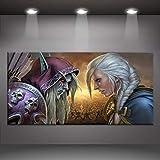 Leinwand Malerei Sylvanas Windrunner Jaina Proudmoore World Of Warcraft Schlachtmalerei Drucktyp Startseite Wanddekoration Spielplakat Keine Rahmenbilder 50 * 70cm