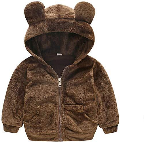 Clothing Abrigo unisex para bebés y niños pequeños, de manga larga, con cremallera, para niños y niños, para ropa de 0 a 3 años (color: marrón, talla: 18 a 24 meses)