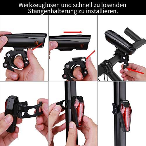 Antimi LED Fahrradlicht Set【Neueste Modell】, StVZO Zugelassen USB Wiederaufladbar Fahrradlichter Fahrradlampe Set, IPX5 Wasserdicht Frontlicht & Rücklicht Lampenset mit Samsung 2600mAh Li-ion Akku - 4
