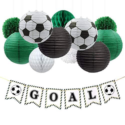 NICROLANDEE decoración fiesta de fútbol, pancarta de papel colgante, farol, bola de panal de abeja para la copa del mundo, deportes temática de fútbol fiesta de cumpleaños, kit de decoración