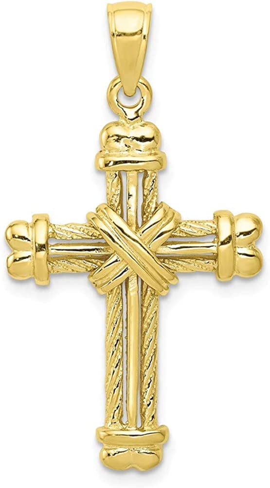 Solid 10k Yellow Gold and Textured Cross Pendant Charm