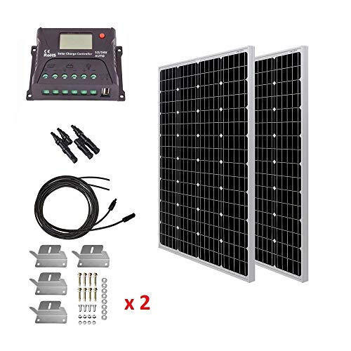 HQST 200 Watt 12 Volt Monocrystalline Solar Panel Kit with 20A PWM LCD Common Postive Solar Charge Controller, 20Ft 10AWG Solar Cable, Z-Brackets, Y Branch Connecter