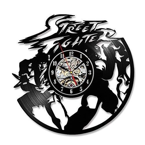 Accueil Mode Street Fighter Disque Vinyle Réveil Creative Chambre Décoration Art à la Main Vintage Horloge Murale à Rgb Led L'Horloge Suspendue, B, Z-B, a